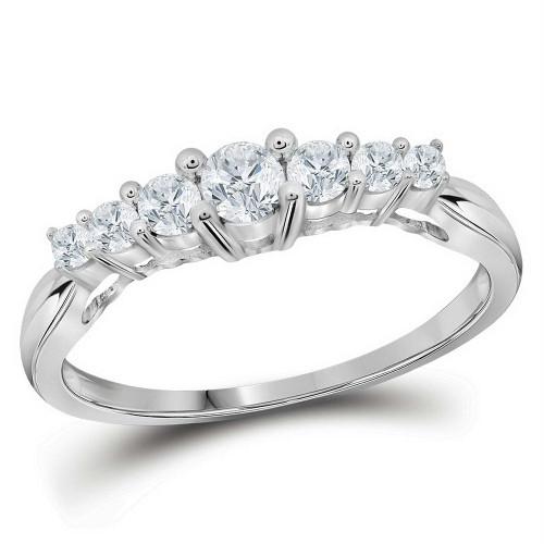 10kt White Gold Womens Round Diamond 7-stone Fashion Ring 1/3 Cttw