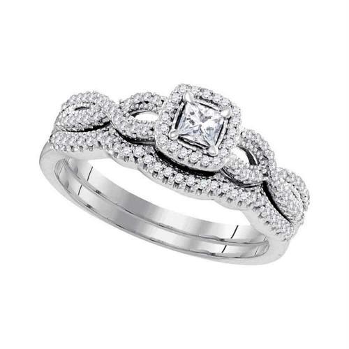 10kt White Gold Womens Princess Diamond Twist Bridal Wedding Engagement Ring Band Set 3/8 Cttw