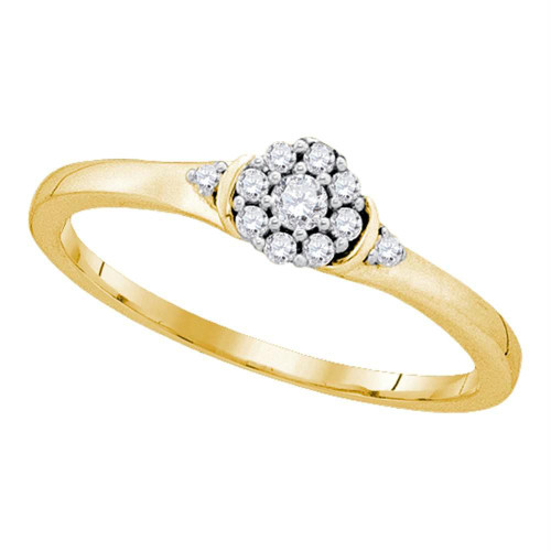 10kt Yellow Gold Womens Round Diamond Cluster Promise Bridal Ring 1/6 Cttw