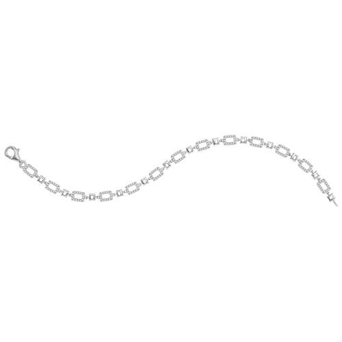 10kt White Gold Womens Round Diamond Rectangle Link Fashion Bracelet 3/4 Cttw