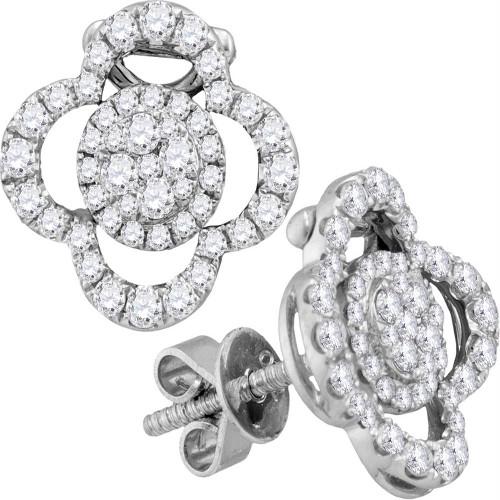 18kt White Gold Womens Round Diamond Quatrefoil Convertible Dangle Jacket Earrings 5/8 Cttw