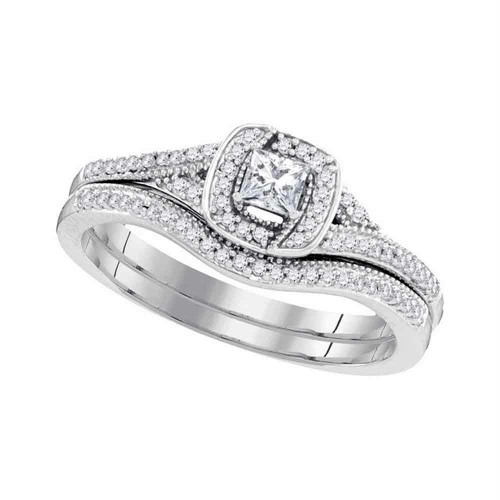 10k White Gold Princess Diamond Bridal Wedding Engagement Ring Band Set 1/3 Cttw - 98619-8