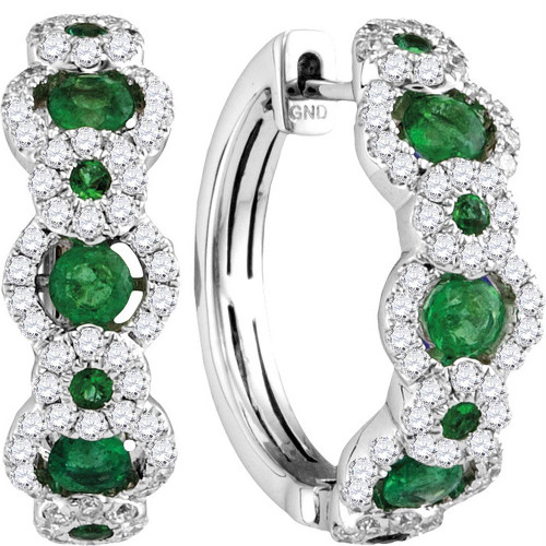 18kt White Gold Womens Round Emerald Diamond Hoop Earrings 5/8 Cttw