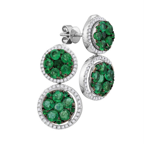 18kt White Gold Womens Round Emerald Diamond Convertible Dangle Jacket Earrings 1.00 Cttw