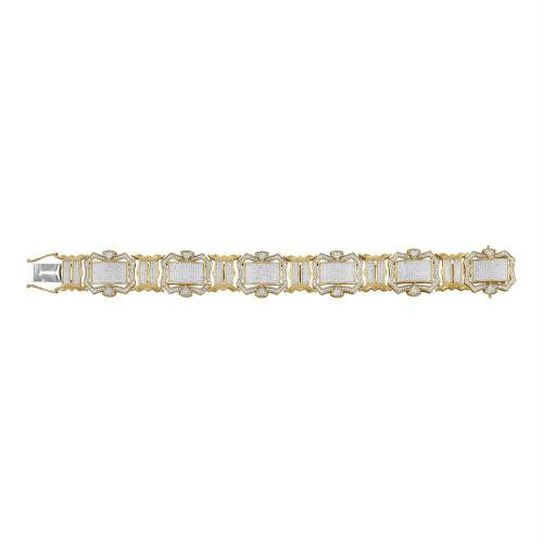 10kt Yellow Gold Mens Round Diamond Big Look Fashion Bracelet 3-1/5 Cttw