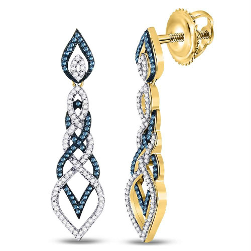 10kt Yellow Gold Womens Round Blue Color Enhanced Diamond Dangle Earrings 1-5/8 Cttw