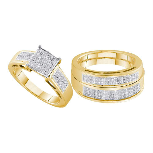 10kt Yellow Gold His & Hers Round Diamond Square Cluster Matching Bridal Wedding Ring Band Set 5/8 Cttw