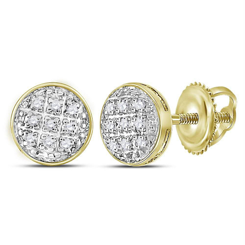 10kt Yellow Gold Mens Round Diamond Circle Cluster Stud Earrings 1/20 Cttw - 117944
