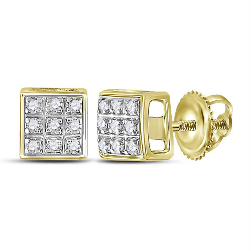 10kt Yellow Gold Mens Round Diamond Square Cluster Stud Earrings 1/20 Cttw
