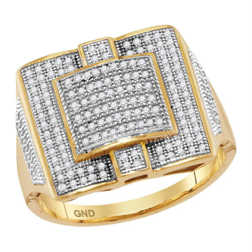 10kt Yellow Gold Mens Round Diamond Square Cluster Ring 1/2 Cttw - 68629-10