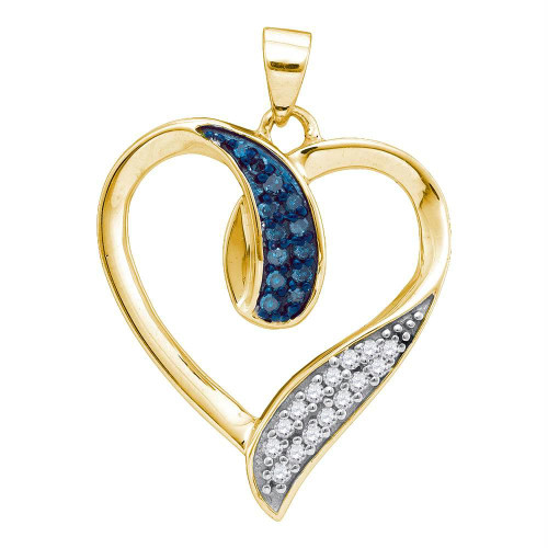 10kt Yellow Gold Womens Round Blue Color Enhanced Diamond Heart Love Pendant 1/5 Cttw