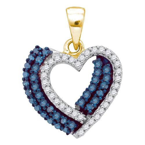 10kt Yellow Gold Womens Round Blue Color Enhanced Diamond Double Heart Pendant 3/8 Cttw