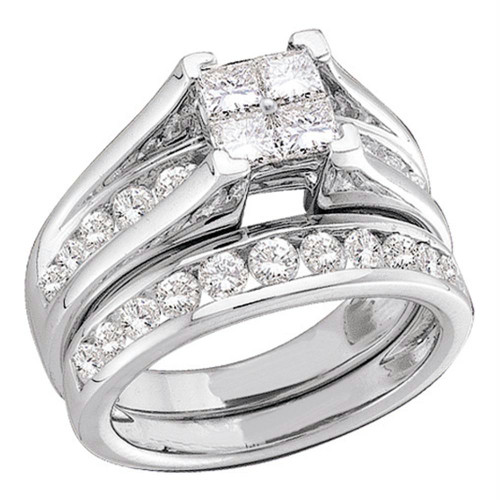 10k White Gold Princess Invisible-set Diamond Bridal Wedding Engagement Ring Set 1/2 Cttw Size 6