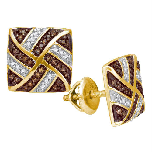 10kt Yellow Gold Womens Round Cognac-brown Color Enhanced Diamond Square Pinwheel Earrings 1/4 Cttw