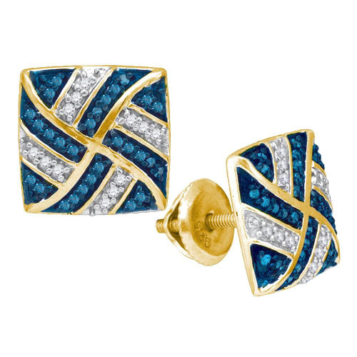 10kt Yellow Gold Womens Round Blue Color Enhanced Diamond Square Pinwheel Cluster Earrings 1/4 Cttw