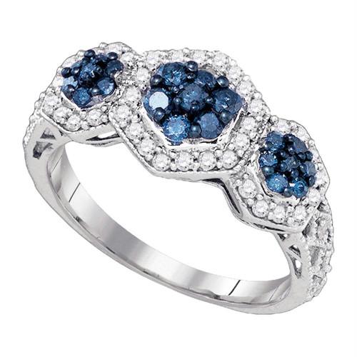 10k White Gold Womens Blue Color Enhanced Diamond Flower Cluster Ring 3/4 Cttw