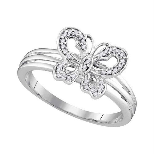 10kt Two-tone Gold Womens Round Diamond Butterfly Bug Ring 1/8 Cttw