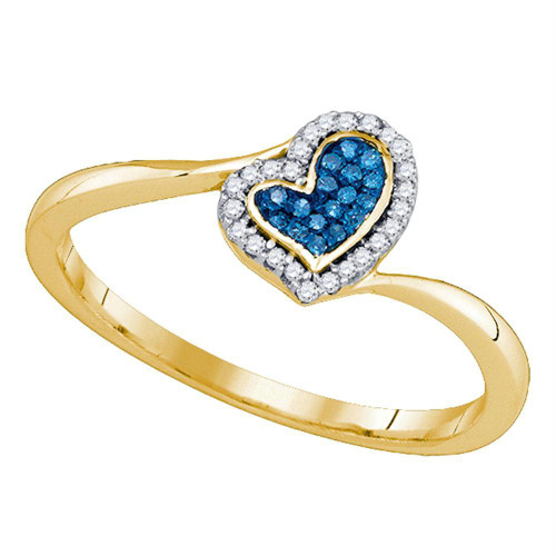 10kt Yellow Gold Womens Round Blue Color Enhanced Diamond Heart Love Ring 1/10 Cttw