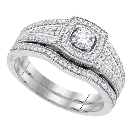 10k White Gold Womens Round Diamond Bridal Wedding Engagement Ring Band Set 1/2 Cttw - 92214-10