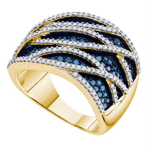 10kt Yellow Gold Womens Round Blue Color Enhanced Diamond Striped Fashion Ring 1-1/3 Cttw