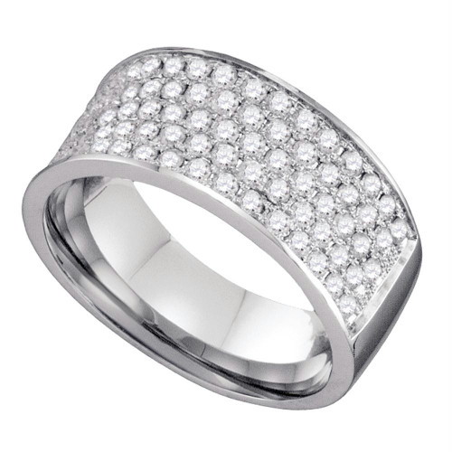 10k White Gold Round Pave-set Diamond Womens Band Ring 1.00 Cttw