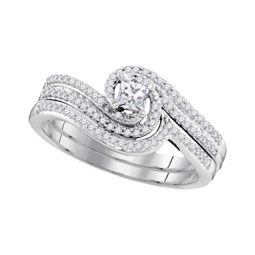 10k White Gold Princess Diamond Bridal Wedding Engagement Ring Band Set 3/8 Cttw