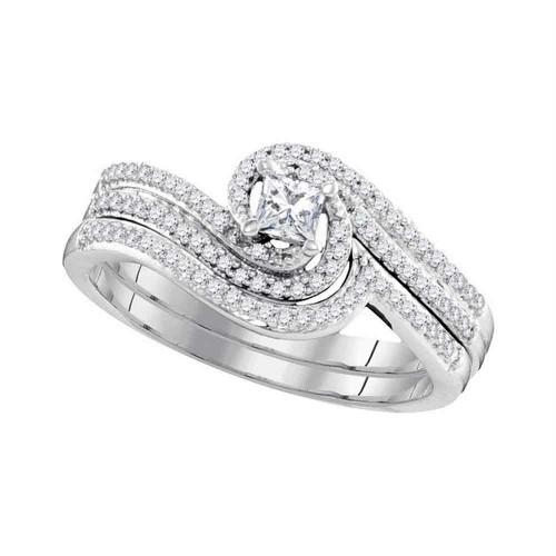 10k White Gold Princess Diamond Bridal Wedding Engagement Ring Band Set 3/8 Cttw