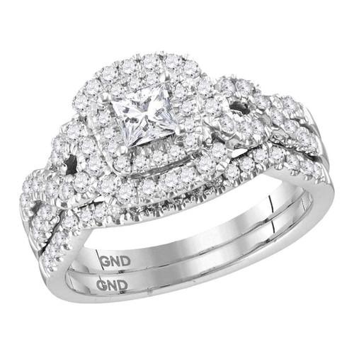 14kt White Gold Womens Princess Diamond Halo Twist Bridal Wedding Engagement Ring Band Set 1.00 Cttw (Certified)