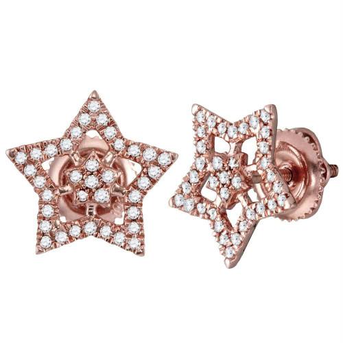 10kt Rose Gold Womens Round Diamond Star Cluster Stud Earrings 1/5 Cttw