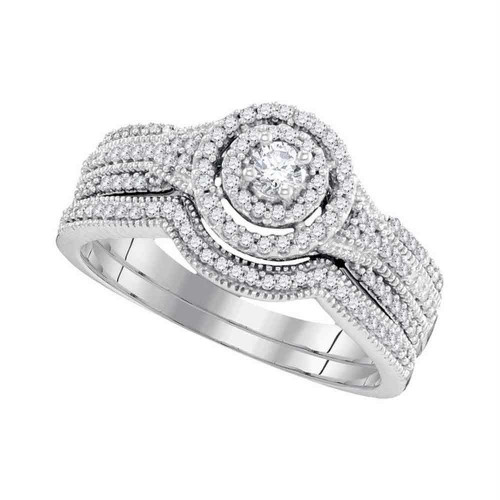 10k White Gold Round Diamond Bridal Wedding Engagement Ring Band Set 1/2 Cttw