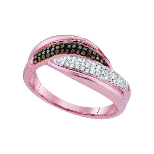 10kt Rose Gold Womens Round Red Color Enhanced Diamond Band Ring 1/4 Cttw