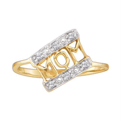 14kt Yellow Gold Womens Round Diamond Mom Mother Accent Ring 1/20 Cttw