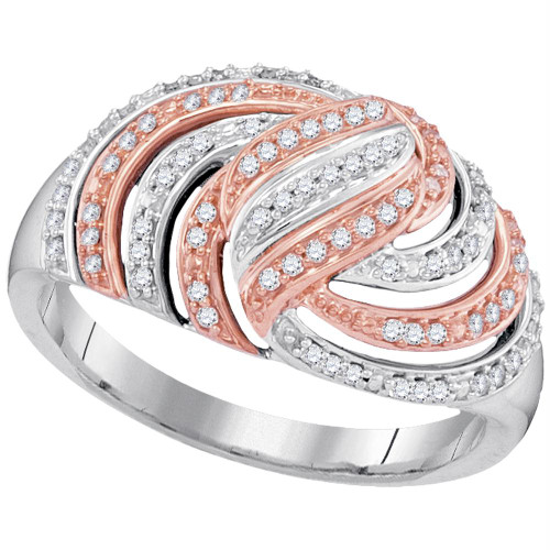 10kt White Gold Womens Round Diamond Striped Rose-tone Fashion Ring 1/4 Cttw