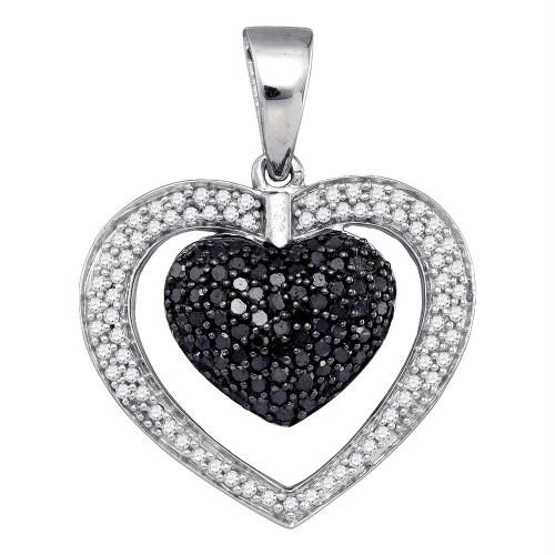 10kt White Gold Womens Round Black Color Enhanced Diamond Heart Pendant 1.00 Cttw