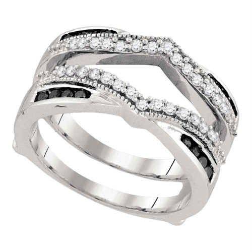 10kt White Gold Womens Round Black Color Enhanced Diamond Wrap Ring Guard Enhancer Wedding Band 1/2 Cttw