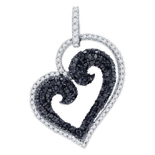 10kt White Gold Womens Round Black Color Enhanced Diamond Curled Heart Love Pendant 7/8 Cttw