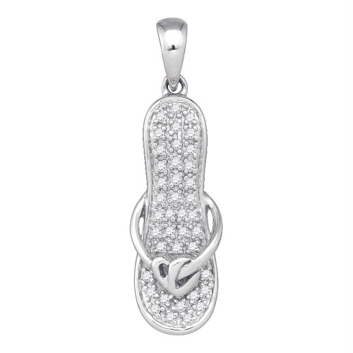 10k White Gold Round Diamond Sandal Flip Flop Womens Pendant Gold 1/10 Cttw