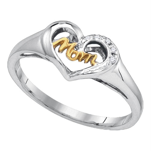 Sterling Silver Womens Round Diamond Mom Mother 2-tone Heart Ring .02 Cttw