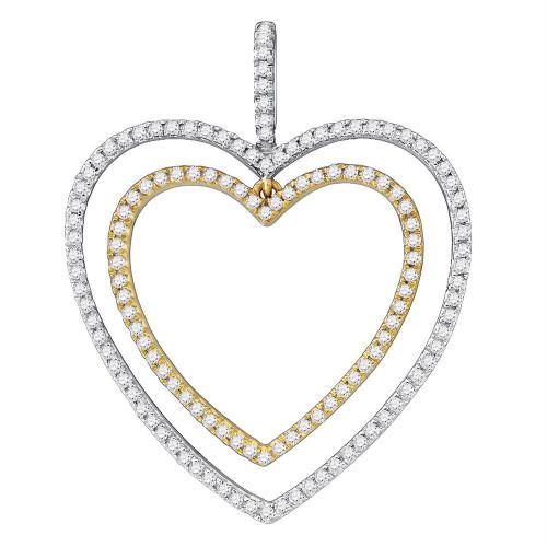 10k White Gold Round Diamond Womens 2-tone Double Heart Pendant 1/2 Cttw