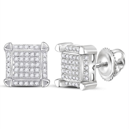 10kt White Gold Mens Round Diamond Square Cluster Stud Earrings 1/6 Cttw