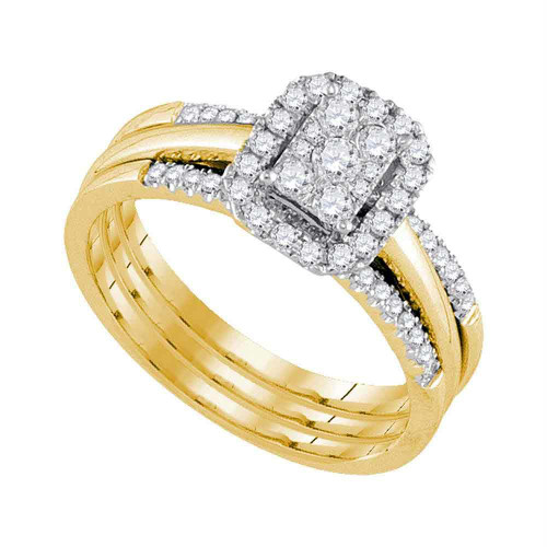 10kt Yellow Gold Womens Diamond Cluster Bridal Wedding Engagement Ring Band Set 1/2 Cttw - 107576-5