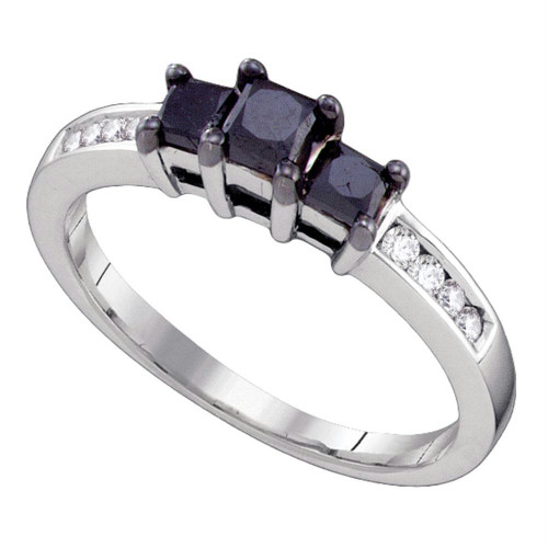 10kt White Gold Womens Round Black Color Enhanced Diamond 3-stone Bridal Wedding Engagement Ring 3/4 Cttw