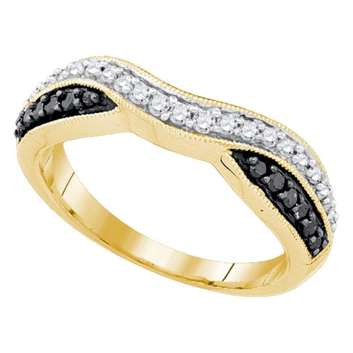 10k Yellow Gold Black Color Enhanced Round Pave-set Diamond Womens Band Ring 1/3 Cttw