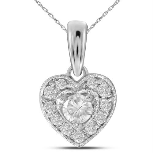 14kt White Gold Womens Round Diamond Solitaire Heart Pendant 1/4 Cttw