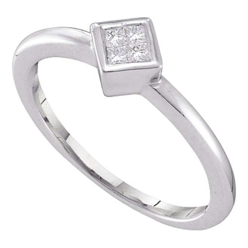 14kt White Gold Womens Princess Diamond Cluster Promise Bridal Ring 1/10 Cttw