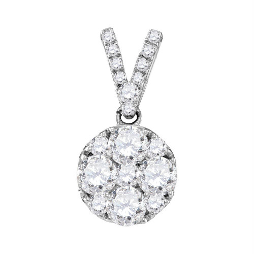 10kt White Gold Womens Round Diamond Cluster Pendant 1.00 Cttw