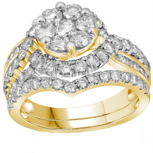 14kt Yellow Gold Womens Round Diamond Flower Cluster Bridal Wedding Engagement Ring Band Set 2-1/2 Cttw