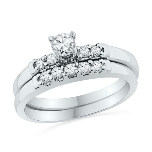 10k White Gold Womens Round Diamond Bridal Wedding Engagement Ring Band Set 1/2 Cttw - 101556-7