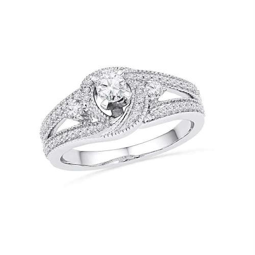 10k White Gold Womens Round Diamond Bridal Wedding Engagement Anniversary Ring 1/2 Cttw