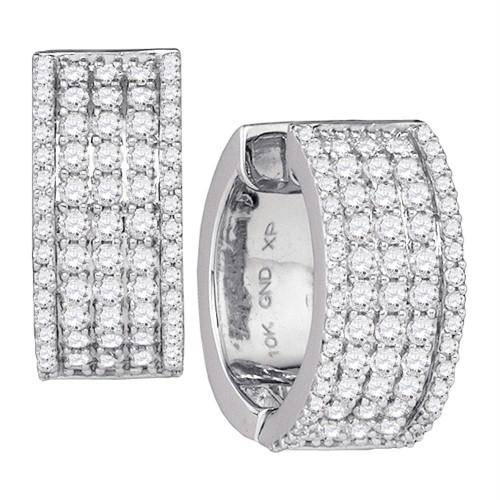 10kt White Gold Womens Round Diamond Huggie Earrings 1-5/8 Cttw